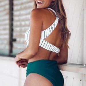 Teal Solid And Striped High Waisted Bikini